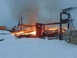 Пожар на пилораме в Канадее