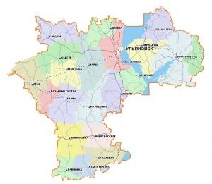 Карта Ульяновской области с раонами